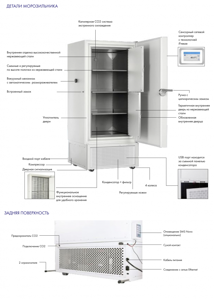 Детали морозильника EvoSafe Snijders Labs