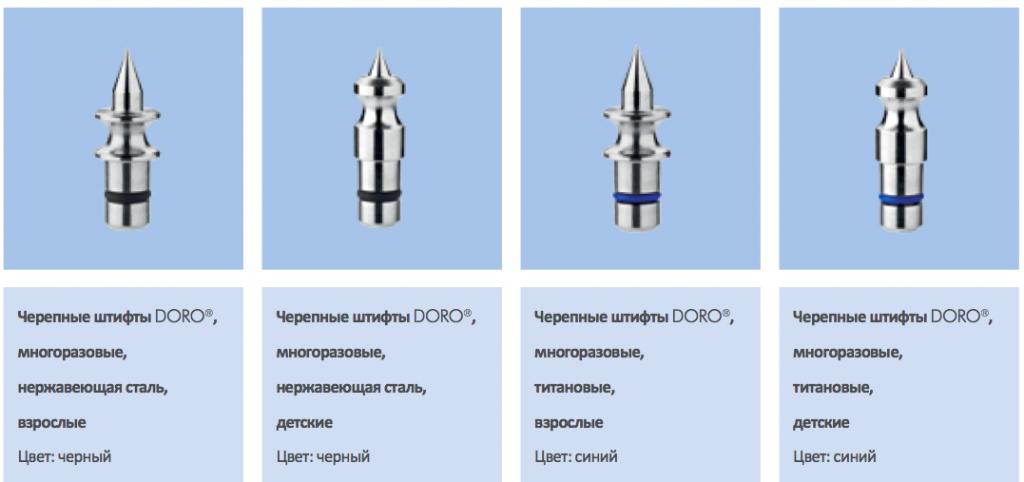 Штифты к черепному фиксатору DORO